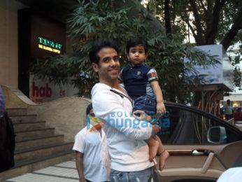 Tusshar Kapoor with son Laksshya Kapoor at Bandra