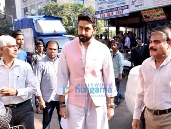 Abhishek Bachchan attends Neeraj Vora's funeral