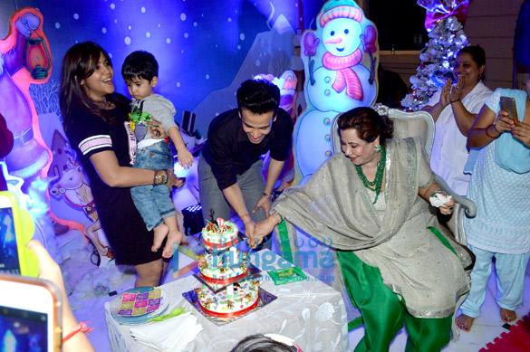 Karan Johar with Roohi and Yash at Tusshar Kapoor's son Laksshya's Christmas party