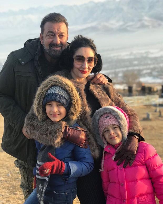 Maanayata Dutt and kids pose with Sanjay Dutt on sets of Torbaaz in Kyrgyzstan
