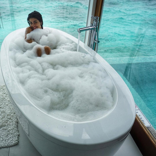 WOW! Shenaz Treasury treats fans with her bathtub picture from her Maldives holiday album