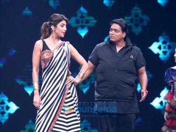 Ganesh Acharya and Shilpa Shetty on the sets of 'Super Dancer