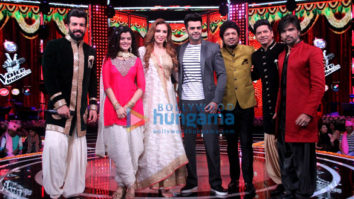 Iulia Vantur and Manish Paul snapped on the sets of The Voice India Kids