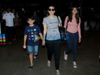 Karishma Kapoor snapped with her kids at the Mumbai airport