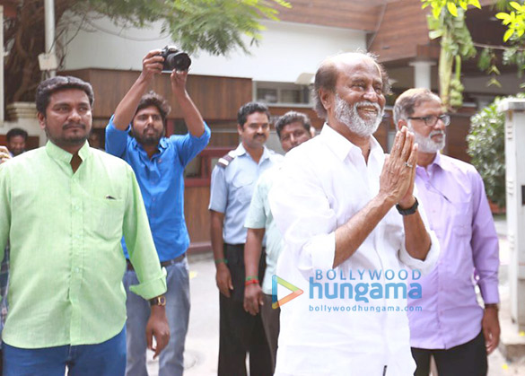 Megastar Rajinikanth meets his fans outside his house for New Year
