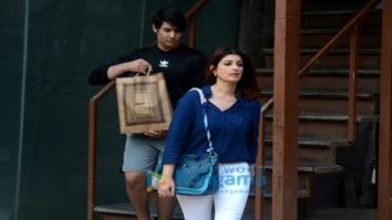 Twinkle Khanna snapped along with son Aarav in Juhu