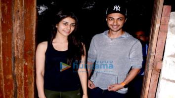 Aayush Sharma snapped with Warina Hussain