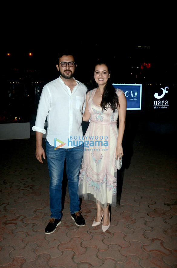 Dia Mirza snapped with Sahil Sangha post dinner at BKC