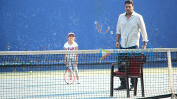 Mahesh Bhupathi snapped with his daughter at a tennis court in Bandra