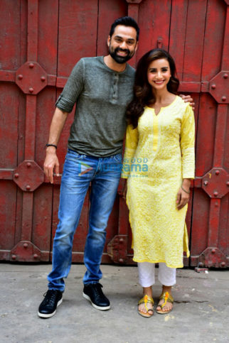 Patralekha and Abhay Deol snapped during a photo shoot for the film Nanu ki Janu