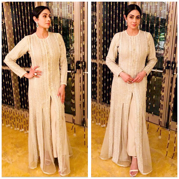 Sridevi in a Faraz Manan wedding couture at the pre-wedding festivities of Mohit Marwah Antara Motiwala