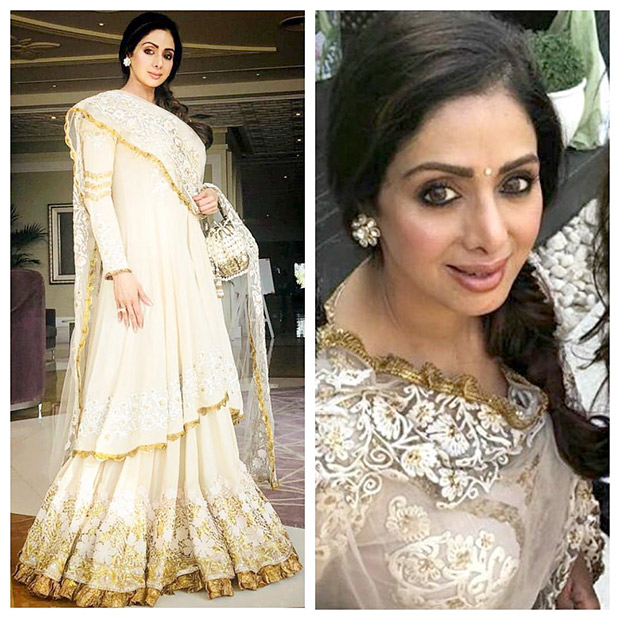 Sridevi in a Manish Malhotra cotton couture at the pre-wedding festivities of Mohit Marwah Antara Motiwala