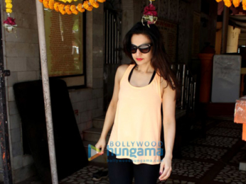 Ameesha Patel snapped whilst seeking blessings at a temple in Juhu