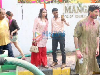 Hema Malini snapped after a holi party at daughter Esha Deol's residence
