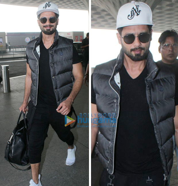 Weekly Airport Style: Shahid Kapoor in an all black sporty look