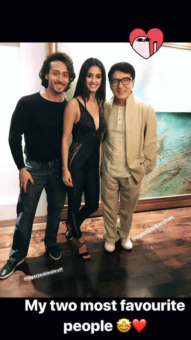 Baaghi 2 couple Disha Patani and Tiger Shroff pose with their favourite Jackie Chan