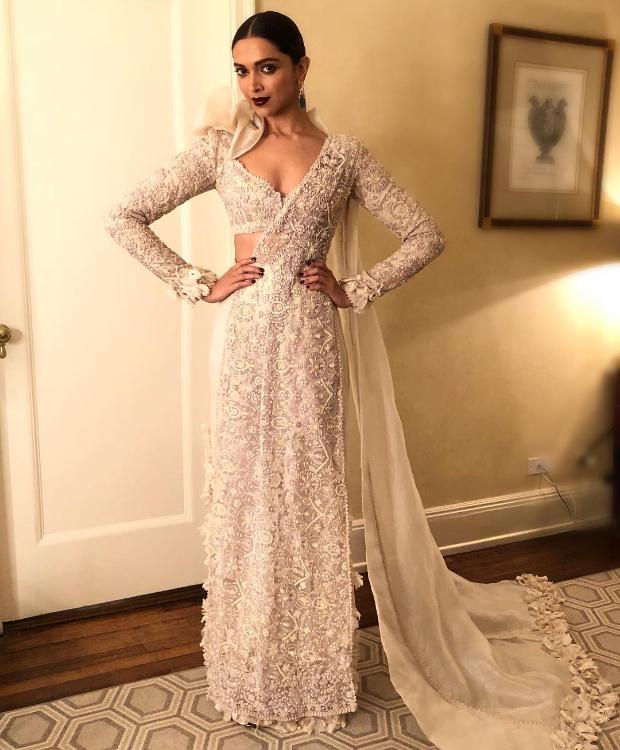 Deepika Padukone flaunts an Anamika Khanna saree inspired ensemble