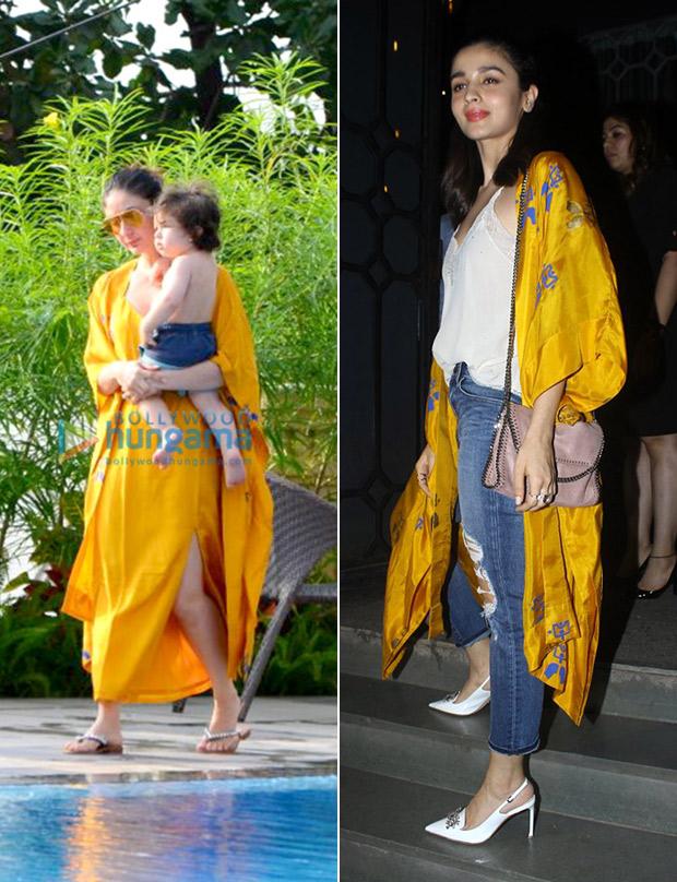 Kareena Kapoor Khan and Alia Bhatt in House of Masaba ochre beach cape jacket