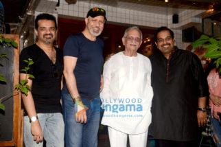Raazi music directors Shankar Ehsaan Loy with Gulzar in Bandra