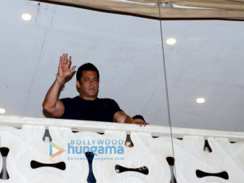 Salman Khan snapped in the balcony at Galaxy Apartments