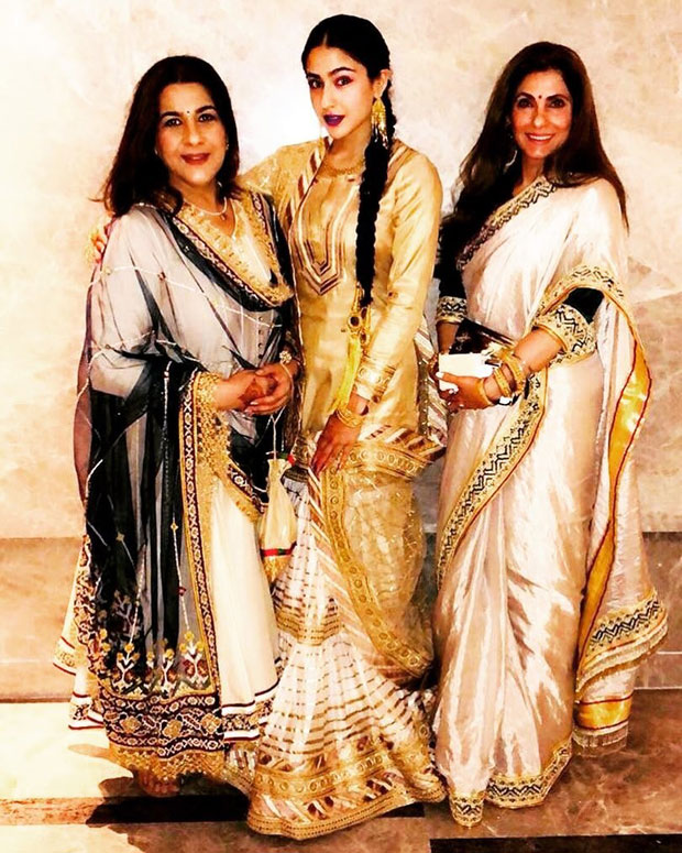 WOW! Sara Ali Khan stuns in traditional avatar; poses with mom Amrita Singh and Dimple Kapadia