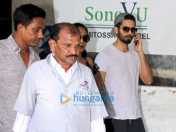 Shahid Kapoor and wife Mira Rajput snapped outside a clinic