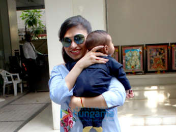 Tulsi Kumar snapped with her son Shivaay at the T-series office in Andheri