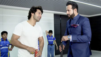 Varun Dhawan plays cricket with Irfan Pathan at Star Sports Show Kent Cricket Live