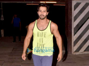 Varun Dhawan snapped at the gym