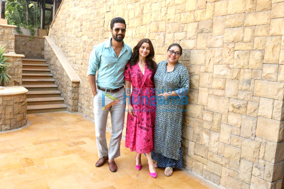 Alia Bhatt and Vicky Kaushal snapped at a media meet promoting their film Raazi