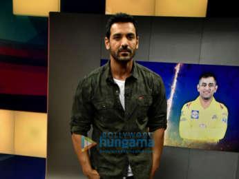 John Abraham snapped on sets of Kent Cricket Live promoting his film Parmanu