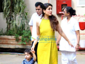 Saif Ali Khan and Kareena Kapoor Khan snapped with their son Taimur at Mehboob Studios in Bandra