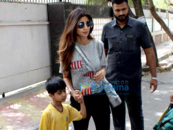Shilpa Shetty spotted with her son at his school in Juhu