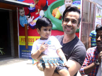 Tusshar Kapoor snapped with his son Laksshya outside the gym in Bandra
