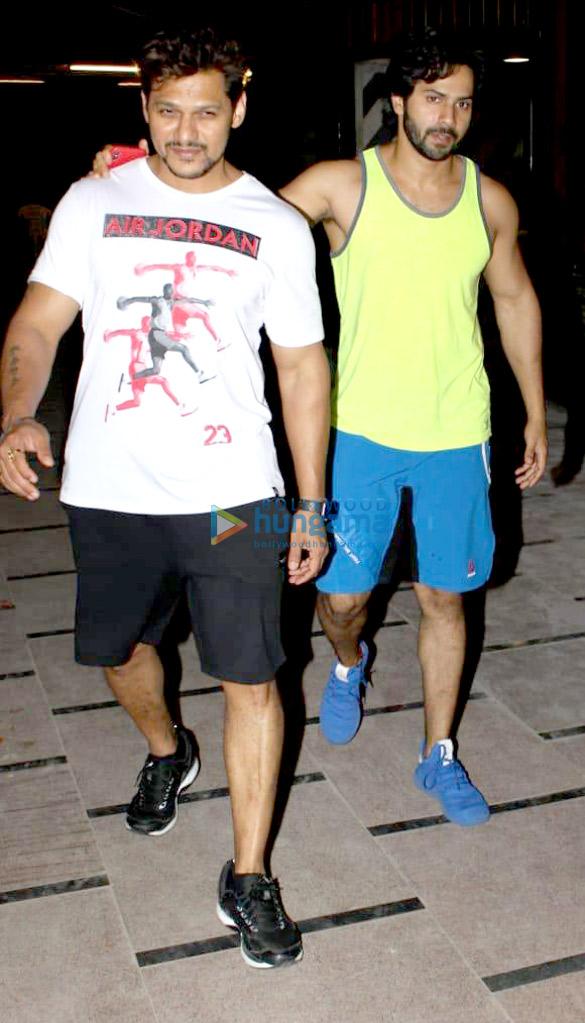 Varun Dhawan and Prashant Sawant snapped at Body Sculptor gym