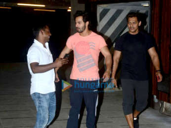 Varun Dhawan and Prashant Sawant snapped at Body Sculptor gym in Juhu
