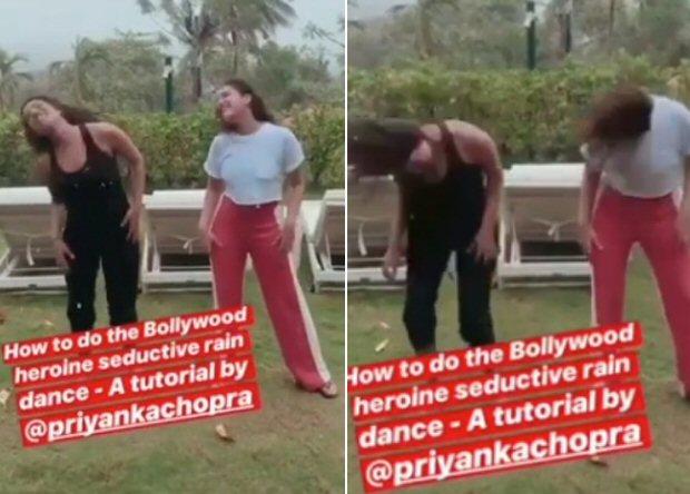 WATCH: Priyanka Chopra gives Parineeti Chopra a tutorial on Bollywood's SEDUCTIVE rain dance moves