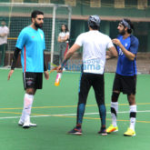 Ranbir Kapoor and Abhishek Bachchan snapped at a football match