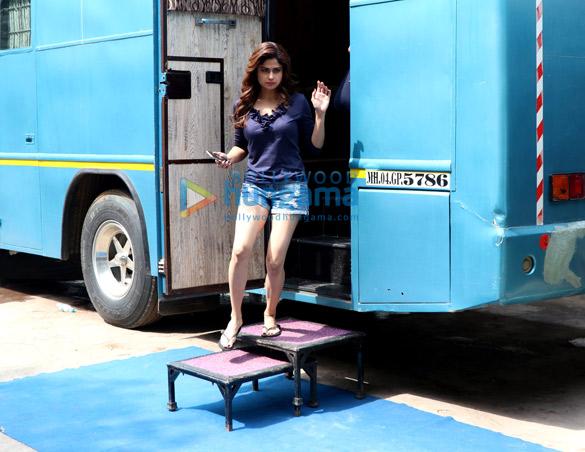 Shamita Shetty snapped on the location of a shoot