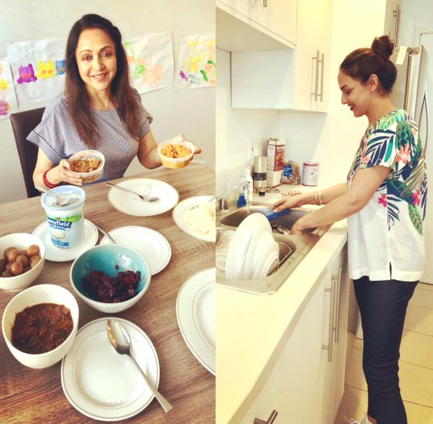 Hema Malini and Esha Deol Takhtani bond over cooking and doing the dishes [see pic]