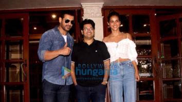 John Abraham, Aisha Sharma and Milap Zaveri snapped at the Radio City office in Bandra