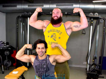 Varun Dhawan snapped with WWE star Braun Strowman