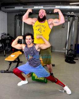 Varun Dhawan snapped with WWE star Braun Strowman