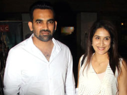 Zaheer Khan & his wife Sagarika Ghatge @Special Screening of 'Soorma'