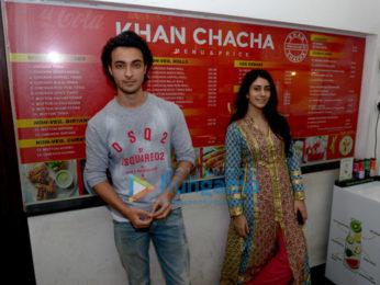 Aayush Sharma and Warina Hussain snapped at Loveratri promotions at Khan Chacha Kabab, Khan market in New Delhi