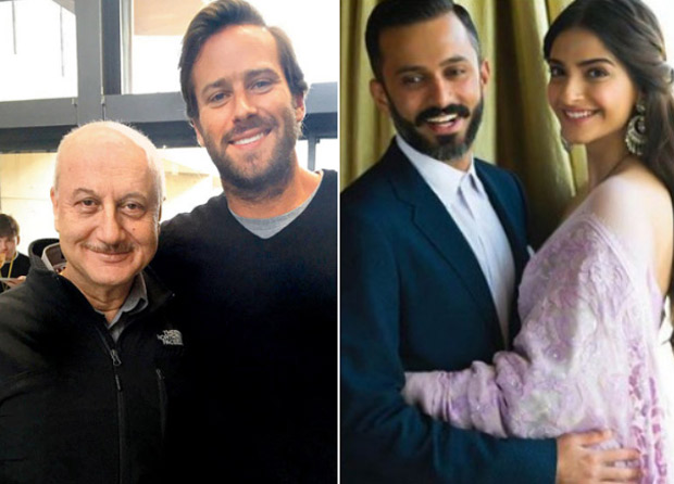 Anupam Kher introduces Sonam Kapoor - Anand Ahuja to Hollywood actor Armie Hammer and his family