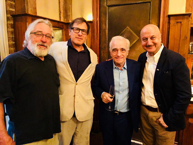 Anupam Kher meets legendary filmmaker Martin Scorsese; gifts Bhagvad Gita to Robert DeNiro at his 75th birthday celebration