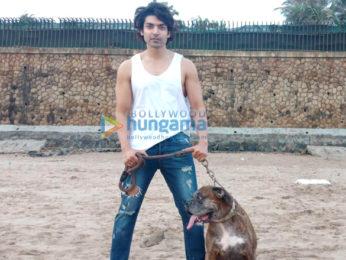 Gurmeet Choudhary snapped at Juhu beach with his dog