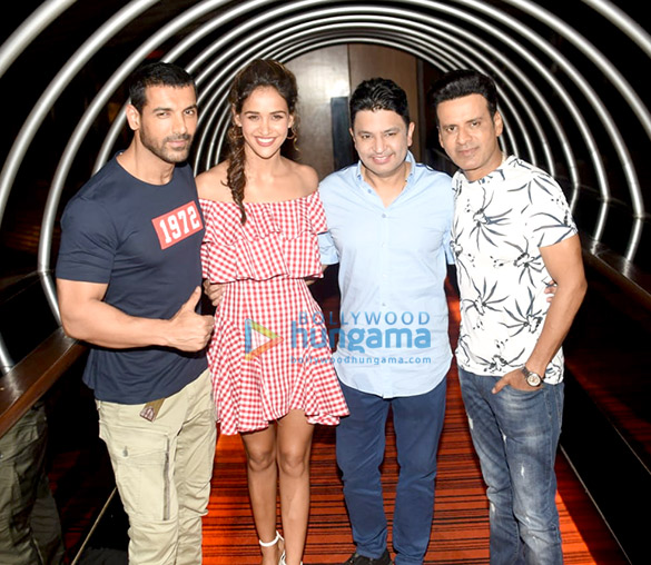 John Abrahama, Manoj Bajpayee and Bhushan Kumar snapped promoting Satyamev Jayate in Delhi