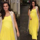 Neha Dhupia in sunshine dress and jacket from Chandni Sahi (Featured)